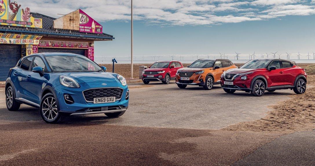 Od lewej: Nissan Juke, Ford Puma, VW T-Cross, Peugeot 2008