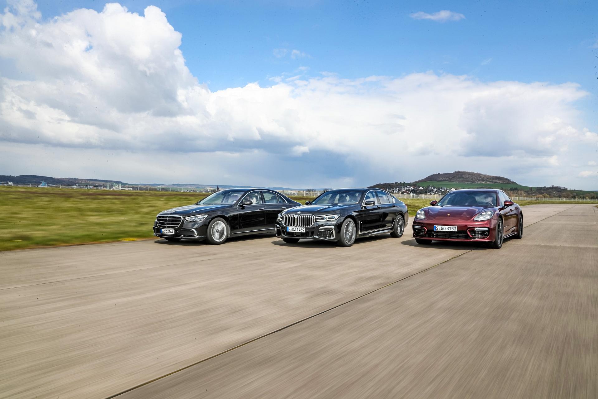 BMW 750i, Mercedes S500, Porsche Panamera 4S - przody