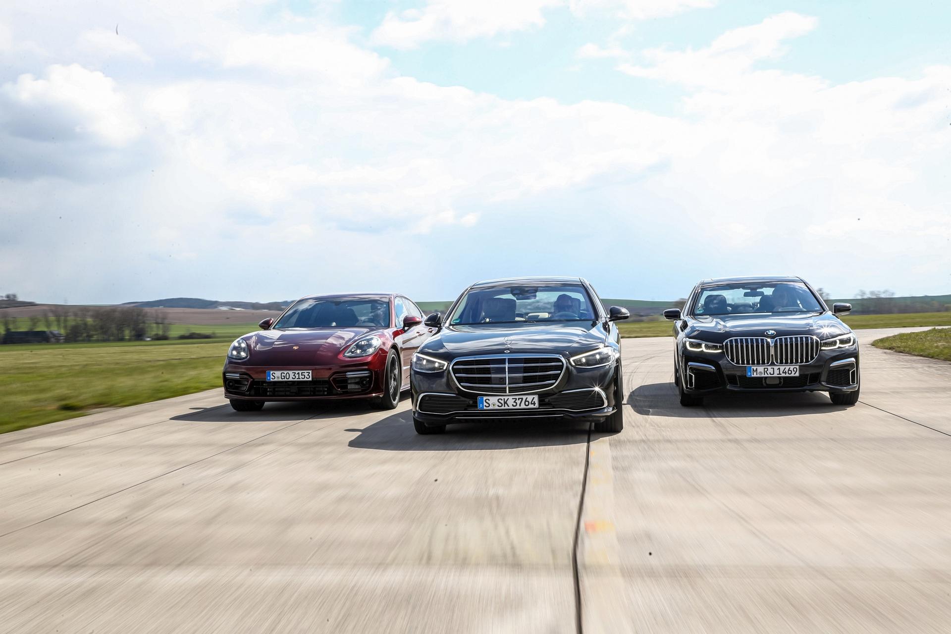 BMW 750i, Mercedes S 500, Porsche Panamera 4S - przody