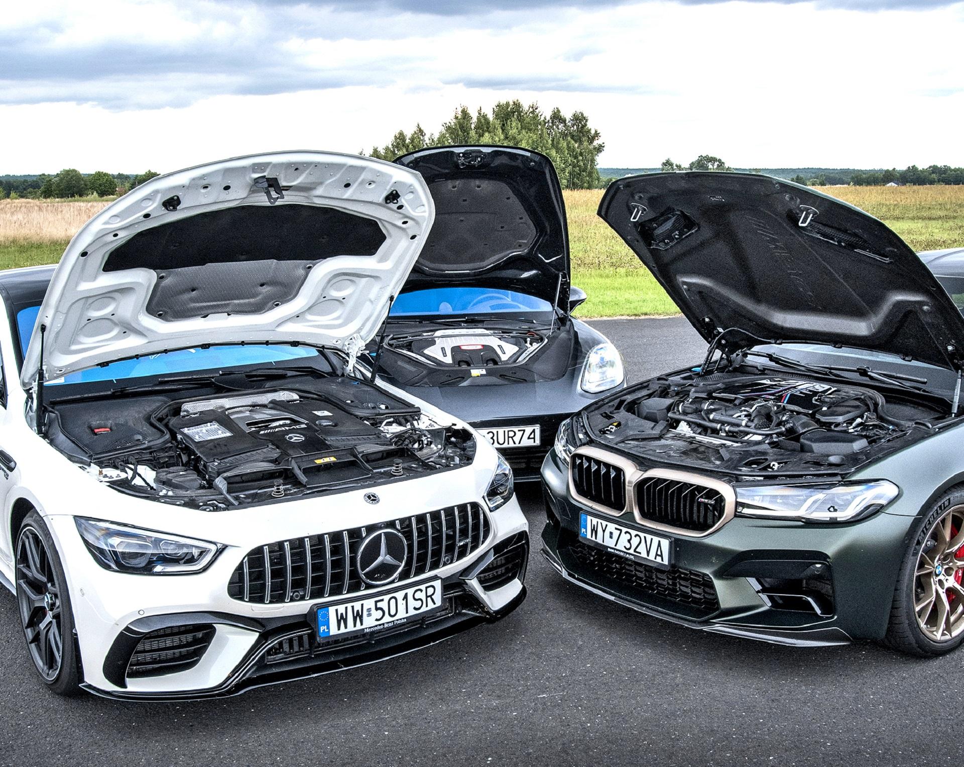 BMW M5 CS, Mercedes-AMG GT 4d 63 S, Porsche Panamera Turbo S - silniki