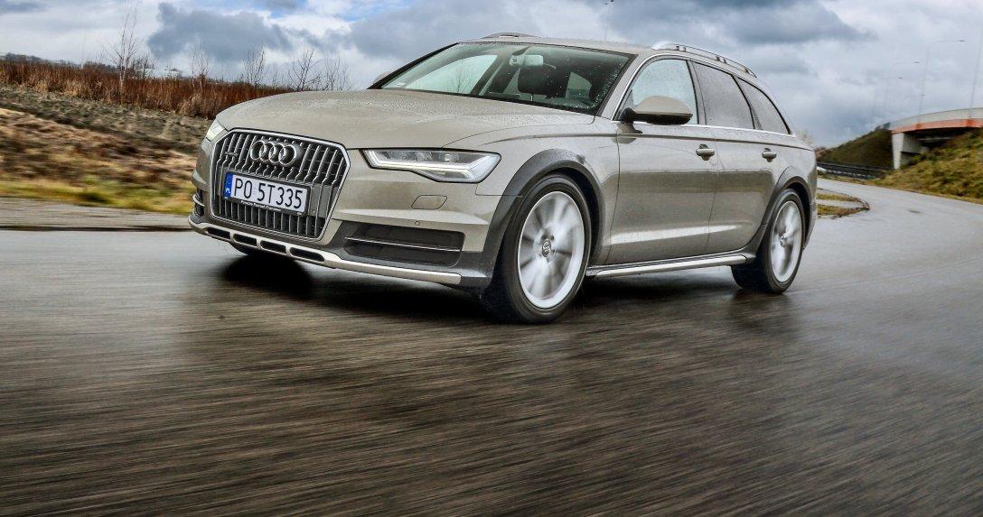 Audi A6 (C7) Allroad 3.0 TDI przód i bok na łuku drogi