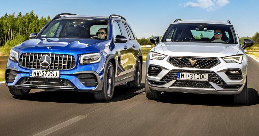 Mercedes-AMG GLB i Cupra Ateca w ruchu, przody