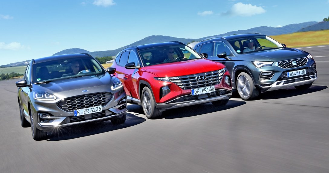 Ford Kuga, Hyundai Tucson, Seat Ateca przody razem w ruchu